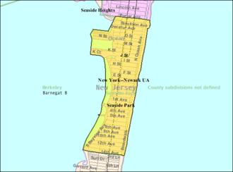 Seaside Park, New Jersey - Image: 2000 Census Bureau map of Seaside Park, New Jersey