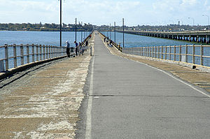 Clontarf, Queensland - The Hornibrook Bridge, looking towards the southern tip of Clontarf