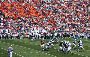 2007 Penn State Nittany Lions football team - Blue-White game with the VT block in the background