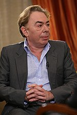 Photo of Andrew Lloyd Webber meeting Prime Minister Vladimir Putin in 2008.