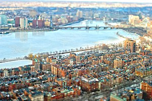 Charles River Esplanade - Aerial view of Back Bay, showing Esplanade at near bank of the Charles River, 2009 (with Longfellow Bridge and Kendall Square, Cambridge, in distance)