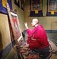 20120730甘肃兰州黄河北岸白塔山下博物馆展室场景绘制唐卡 - panoramio.jpg