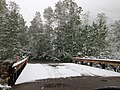 2014-06-17 08 28 37 Snow in June on a bridge over Lamoille Creek at the Thomas Canyon Campground in Lamoille Canyon, Nevada.jpg