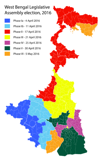 West Bengal Legislative Assembly election, 2016 - Image: 2016 West Bengal State assembly polling dates