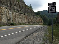 2017-07-22 10 05 52 View north along West Virginia State Route 44 (Jerry West Highway) at U.S. Route 52 in Mountain View, Logan County, West Virginia.jpg