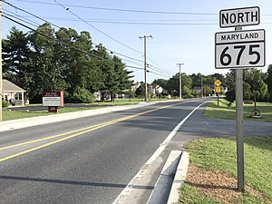 Maryland Route 675 - View north along MD 675 at MD 822 in Princess Anne