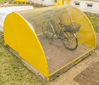 Bicycle parking station - lockable bike cage in Templin, Germany