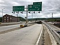 2019-05-17 12 50 10 View west along Interstate 68 and U.S. Route 40 and south along U.S. Route 220 (National Freeway) at Exit 43B (Maryland State Route 51-Industrial Boulevard, Airport) in Cumberland, Allegany County, Maryland.jpg