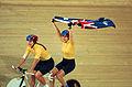 231000 - Cycling track Tania Modra Sarnya Parker Australian flag 5 - 3b - 2000 Sydney race photo.jpg