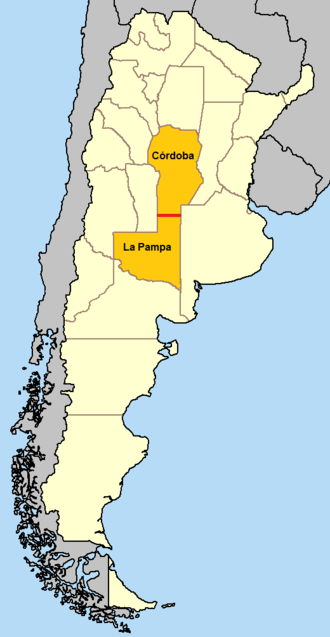 35th parallel south - In Argentina, the 35th parallel south defines the border between Córdoba Province and La Pampa Province.