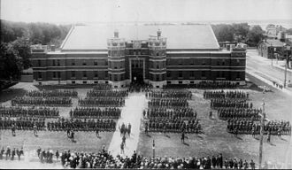 39th Battalion, CEF - 1915 (probably June 23) 39th Battalion of the Canadian Expeditionary Force on the parade grounds of the Belleville, Ontario, armoury building... ready to leave for overseas, WWI