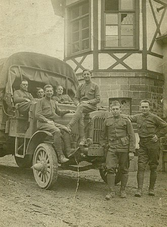 Liberty truck - 3rd Division soldiers somewhere in France with First-series Liberty truck, 1918