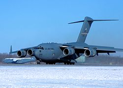 A Boeing C-17 Globemaster III of the 445th Airlift Wing based at Wright Patterson AFB.