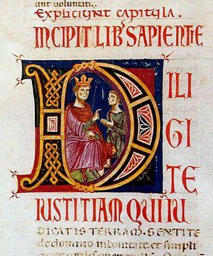 Marco Berlinghieri - Image: 5 Marco Berlinghieri A page from the Bible (Codex №1) 1248 1250 Palazzo della Curia Arcivescovile, Lucca
