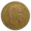 5 francs or, Napoléon III, 1857, face.jpg