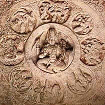 6th century Brahma on Cave 3 ceiling, Badami Hindu cave temple Karnataka 3.jpg