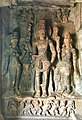 6th century Harihara (left half Shiva, right half Vishnu) with Parvati left, Lakshmi right (cave 1), Badami Hindu cave temple Karnataka 1.jpg