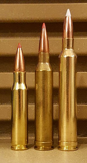 7mm Shooting Times Westerner - From left: .308 Winchester, 7mm Remington Magnum, 7mm Shooting Times Westerner