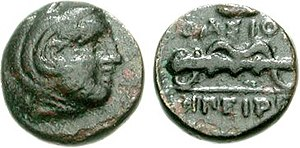 Krenides - Bronce-Stater from Krenides, Heracles club and bow, 360-356 BC