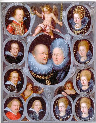 Frederick I, Duke of Württemberg - Duke Frederick I of Württemberg and Sibylla of Anhalt (centre), with their 5 sons: Johann Frederick, Ludwig Frederick, Julius Frederick, Frederick Achilles and Magnus (top left downwards), and 5 daughters: Sibylla Elisabeth, Eva Christina, Agnes, Barbara and Anna (top right downwards)