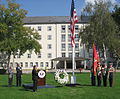 911 Memorial at U.S. Consulate General Frankfurt, Presenting colors.jpg