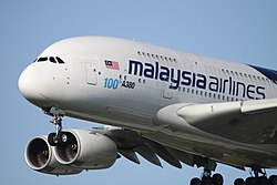 9M-MNF Airbus A380 Malaysia Airlines With 100th A380 Titles Nose (13892641645).jpg