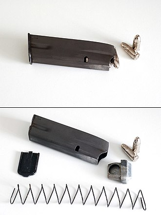 Magazine (firearms) - A staggered-column 9×19mm Browning Hi-Power pistol box magazine; the top image shows the magazine loaded and ready for use while the lower image shows it unloaded and disassembled