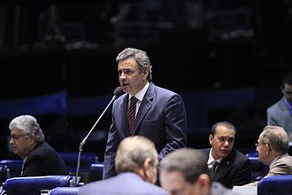 Aécio Neves - Aécio is giving a speech at the Senate in April 2013.
