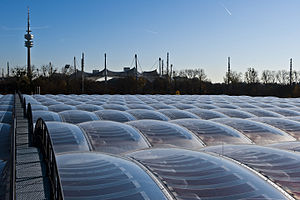 ETFE - ETFE cushions roof with integrated photovoltaic cells. Munich's municipal waste management department