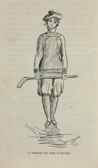 Drawing of a female ice hockey player, from Hockey: Canada's Royal Winter Game (1899) A Dream of the Future (Women's Ice Hockey).png