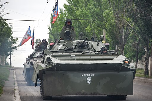 A Russia-backed rebel armored fighting vehicles convoy near Donetsk, Eastern Ukraine, May 30, 2015