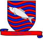 A coat of arms showing a silver fish on field of rippling red and blue