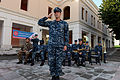 A U.S. Sailor with the U.S. Naval Forces Europe band plays taps as part of a 9-11 memorial ceremony Sept 140911-N-QY759-112.jpg