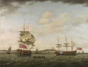 Francis Holman - A sixth-rate British man of war off Dover, by Francis Holman, 1777