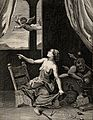 A witch points at Cupid above, Mars (Ares) (?) behind her. E Wellcome V0036024.jpg