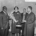 Aankomst dr. J. H. E. Ferrier , gouverneur van Suriname Schiphol. J. H. E. Ferri, Bestanddeelnr 921-1426.jpg