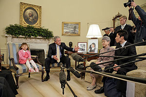 North Korean abductions of Japanese citizens - Sakie Yokota, the mother of the abducted girl Megumi Yokota, meets with U.S. President George W. Bush at the White House in April 2006.