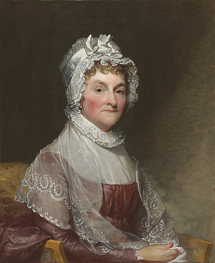 In 1804, Abigail Adams attempted to reconcile Jefferson and Adams. Abigail Adams by Gilbert Stuart.jpg