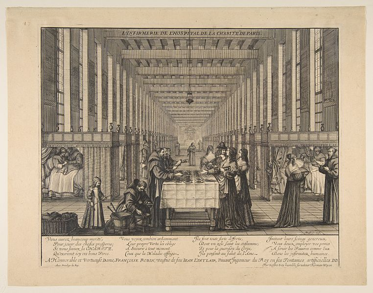 Fichier:Abraham Bosse, The Infirmary of the Hospital of Charity, ca. 1639.jpg