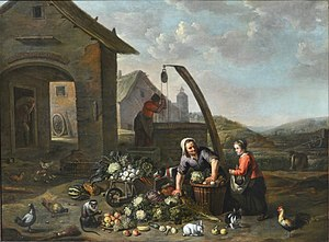 Abraham Willemsens - The animated courtyard of a farm