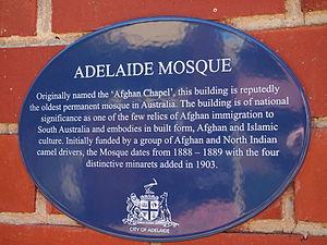 Afghan (Australia) - Adelaide Mosque historic plaque
