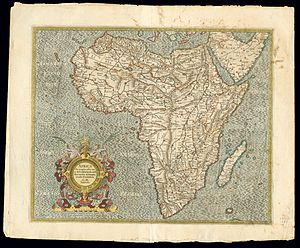 El Hierro - Africa by Gerardus Mercator 1595, 'Fierro' is not yet on the prime meridian