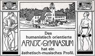 This vignette of the Arndt-Gymnasium Dahlem shows a young man studying at the left and a young man doing sports at the right; it was printed on the 2008 school programme. Agd-vignette-mit-programm01.jpg