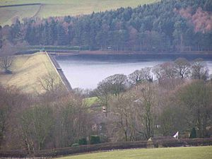 Agden Reservoir - With the 30-metre dam wall. View from High Bradfield