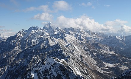 """View of Mount Agepsta and Turyi gory (Tur Mountains) from the top of Kamennyi Stolb, Aibga Ridge."", 2014. Agepsta.jpg"
