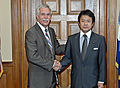 Agriculture Secretary Ed Schafer and Shoichi Nakagawa, Parliamentary Member, Liberal Democratic Party, Japan discuss market access of US beef and the Doha Round.jpg