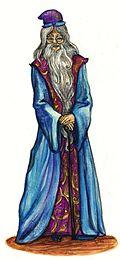 Une interprétation d'Albus Dumbledore réalisée à l'aquarelle et au fusain par Mademoiselle Ortie.