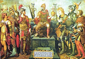 Philip I, Landgrave of Hesse - Allegory showing Charles V (centre) enthroned over his defeated enemies (from left to right): Suleiman the Magnificent, Pope Clement VII, Francis I, the Duke of Cleves, the Duke of Saxony and the Landgrave of Hesse
