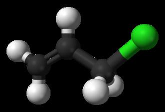 Allyl chloride - Image: Allyl chloride 3D balls