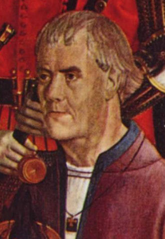 Prince Henry the Navigator - Portrait believed to be the true likeness of Henry the Navigator. Detail from the fifth panel of the polyptych of St. Vincent by Nuno Gonçalves, c. 1470